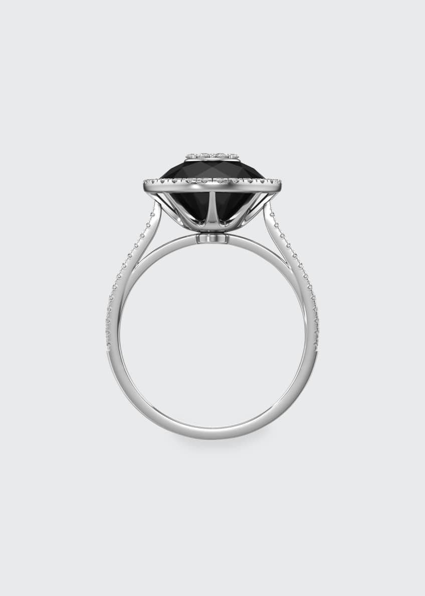 Image 2 of 2: 18k White Gold 10mm Halo Ring w/ Diamonds, Size 6.5