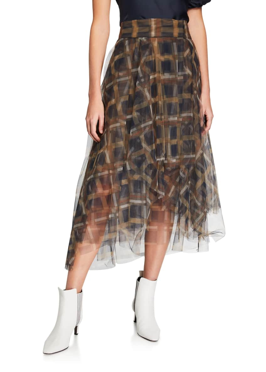 Image 1 of 3: Checked Tulle Skirt