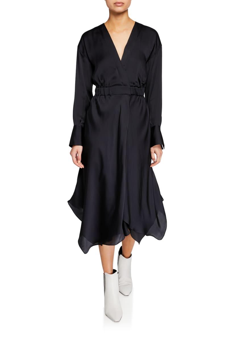 Brunello Cucinelli Long-Sleeve Silk Handkerchief Dress & Matching