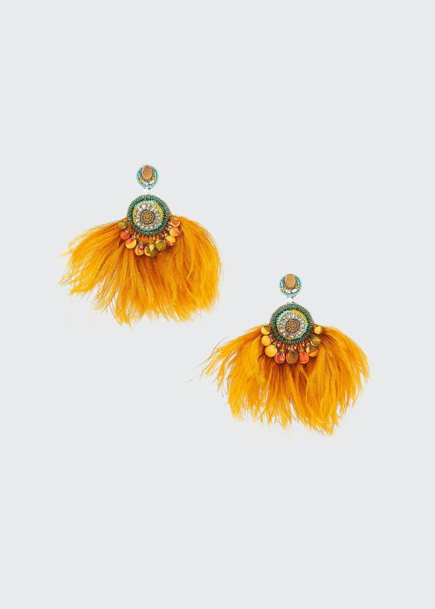 Ranjana Khan Lana Crystal Drop & Feather Fan