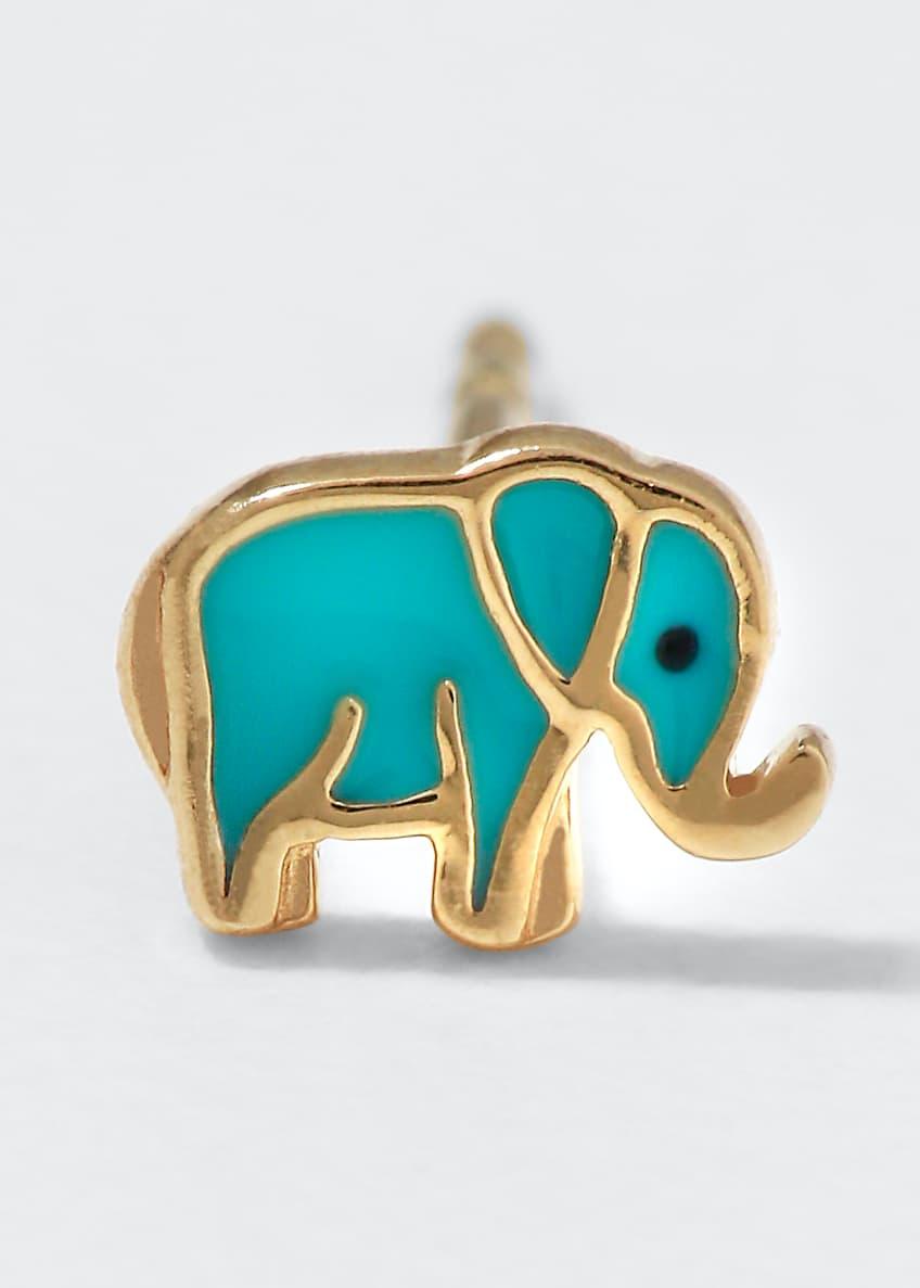 Sydney Evan 14k Mini Elephant Enamel Stud Earring,