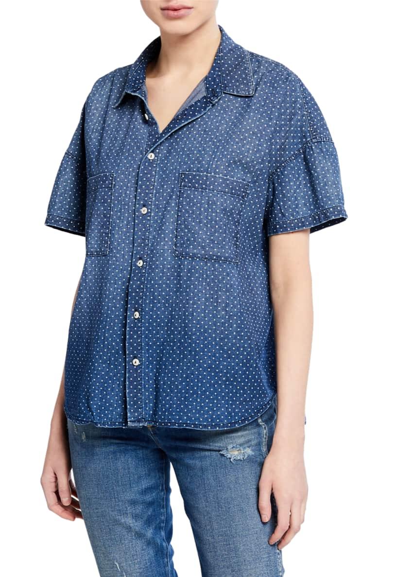 AMO Denim Dotted Button-Down Short-Sleeve Boxy Shirt &