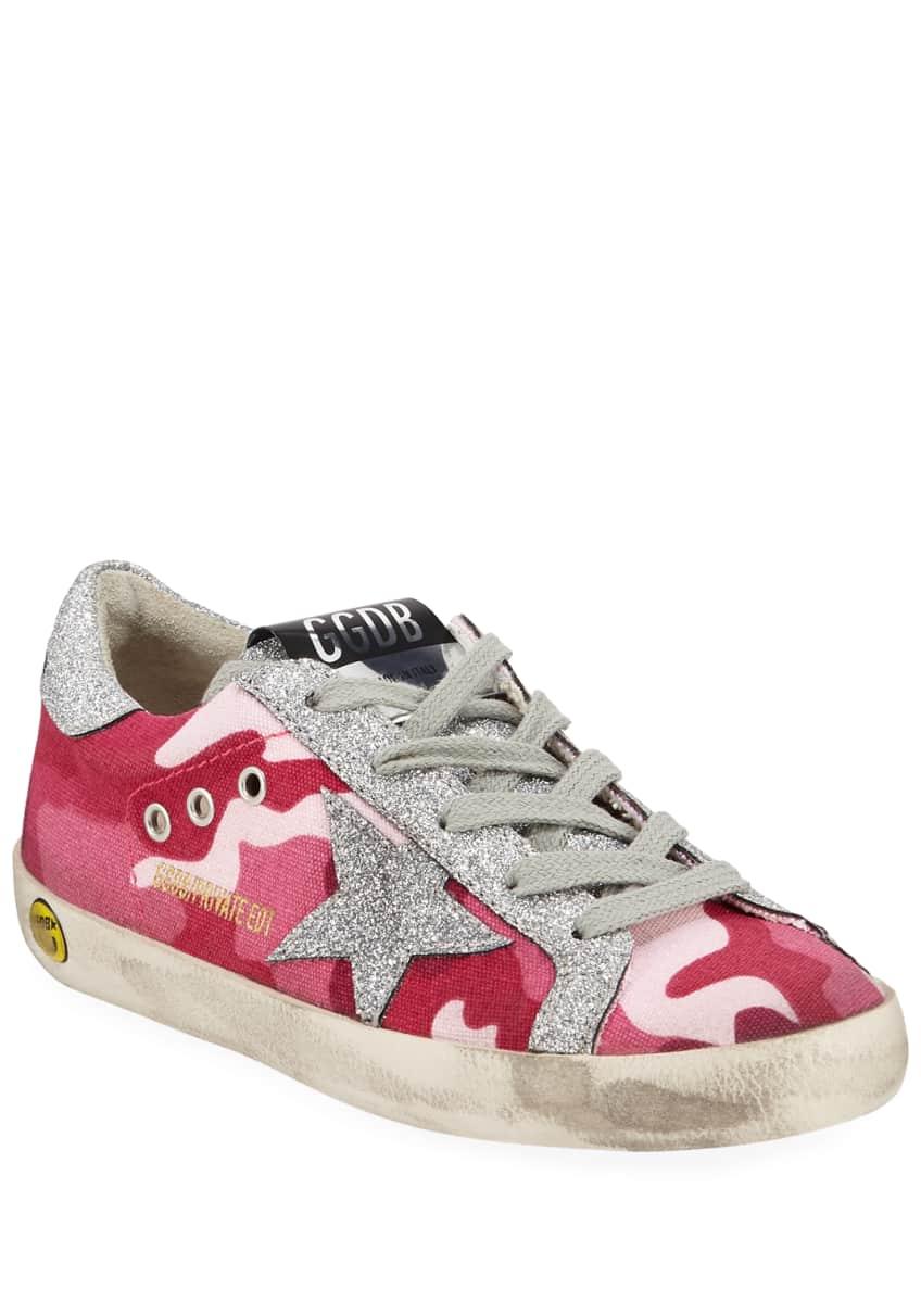 Golden Goose Girls' Superstar Glittered Camo Low-Top Sneakers,
