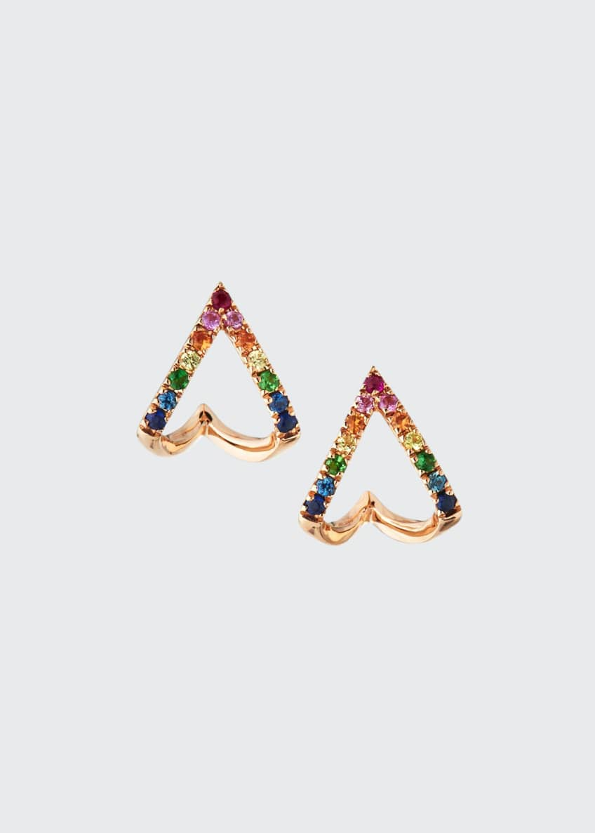 EF Collection 14k Rainbow Chevron Huggie Earrings