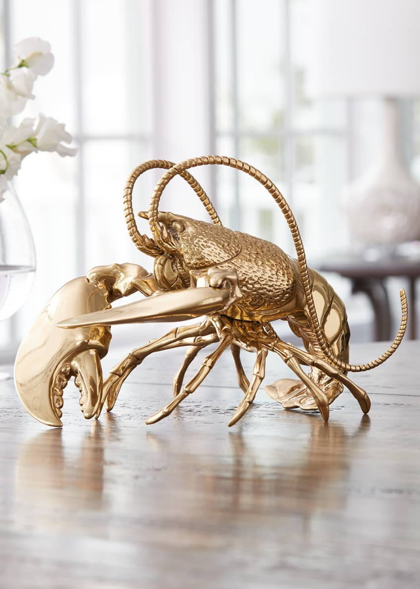 Image 2 of 2: Brass Lobster Figurine