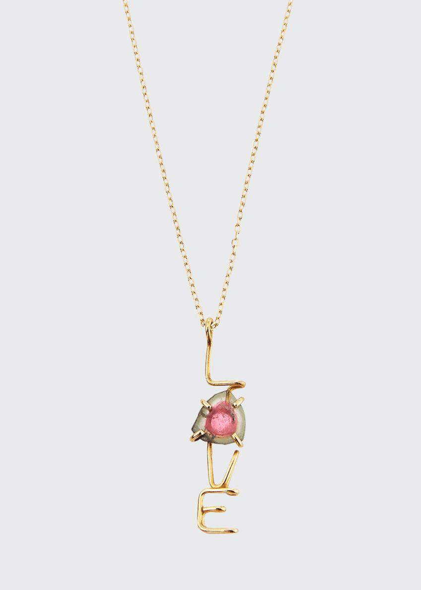 Atelier Paulin 18k LOVE & Tourmaline Pendant Necklace