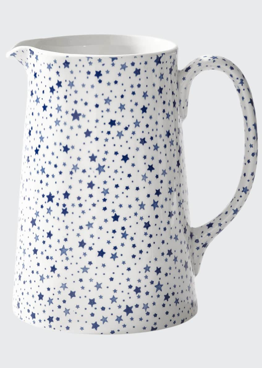 Image 1 of 1: Midnight Sky Tankard Pitcher, White/Blue