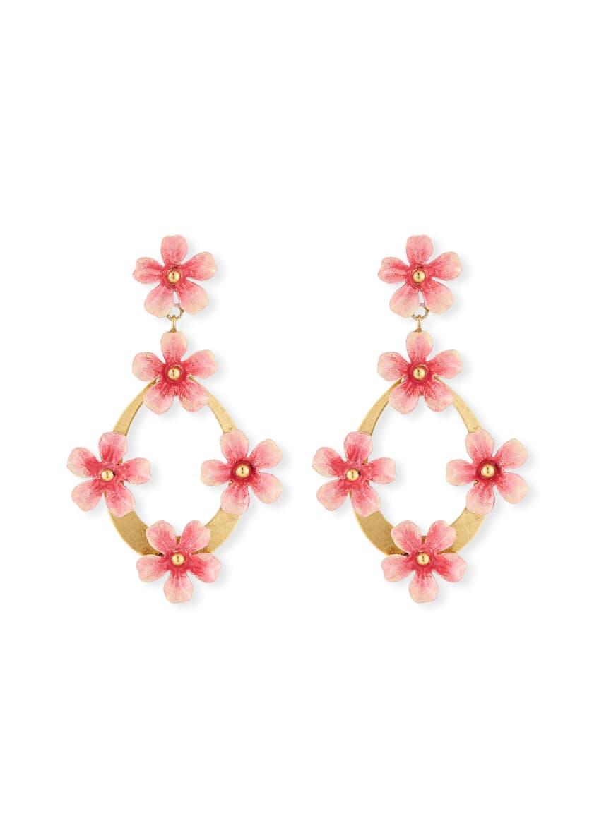 Jennifer Behr Machelle Flower Hoop-Drop Earrings