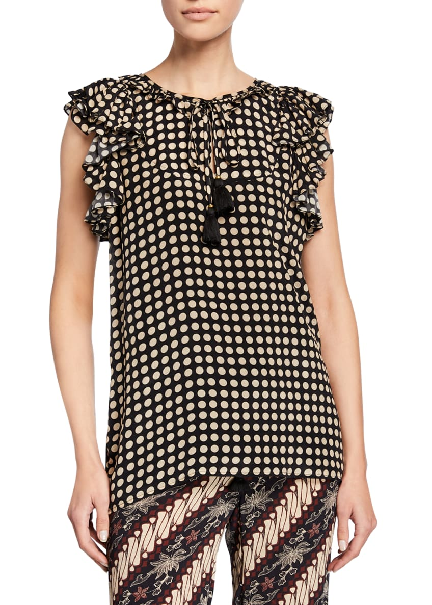 Figue Tessa Ruffled-Sleeve Polka Dot Top & Matching