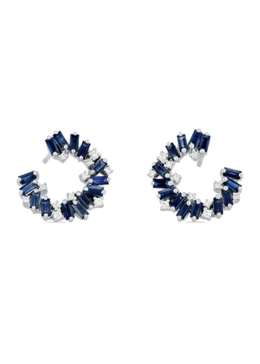 Image 1 of 1: 18K White Gold Rainbow Forward-Set Blue Sapphire Small Spiral Earrings