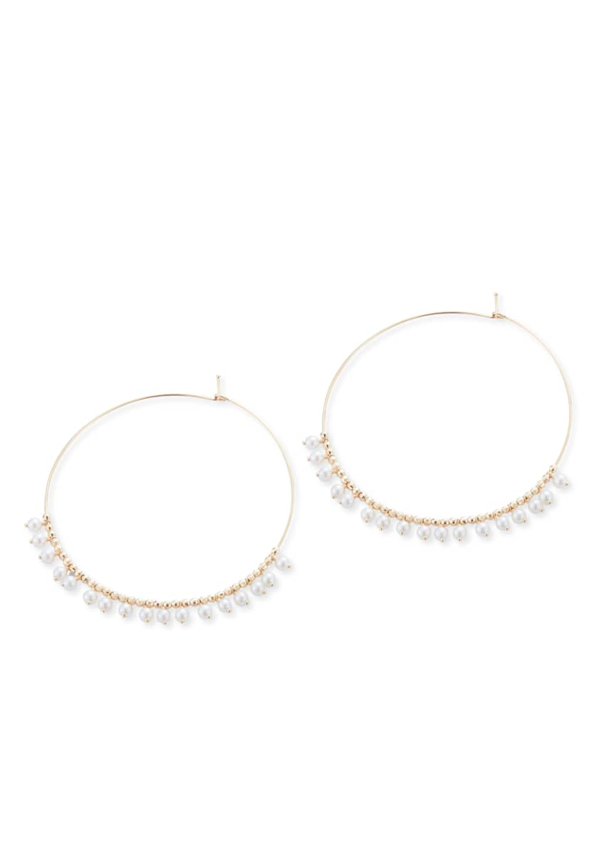 Image 2 of 2: 14k Gold Large Hoop & Pearl Dangle Earrings