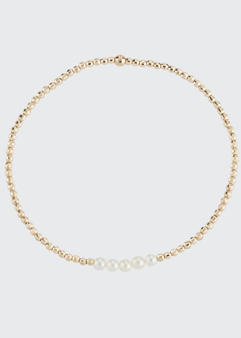 Mizuki 14k Gold Five-Pearl Bracelet