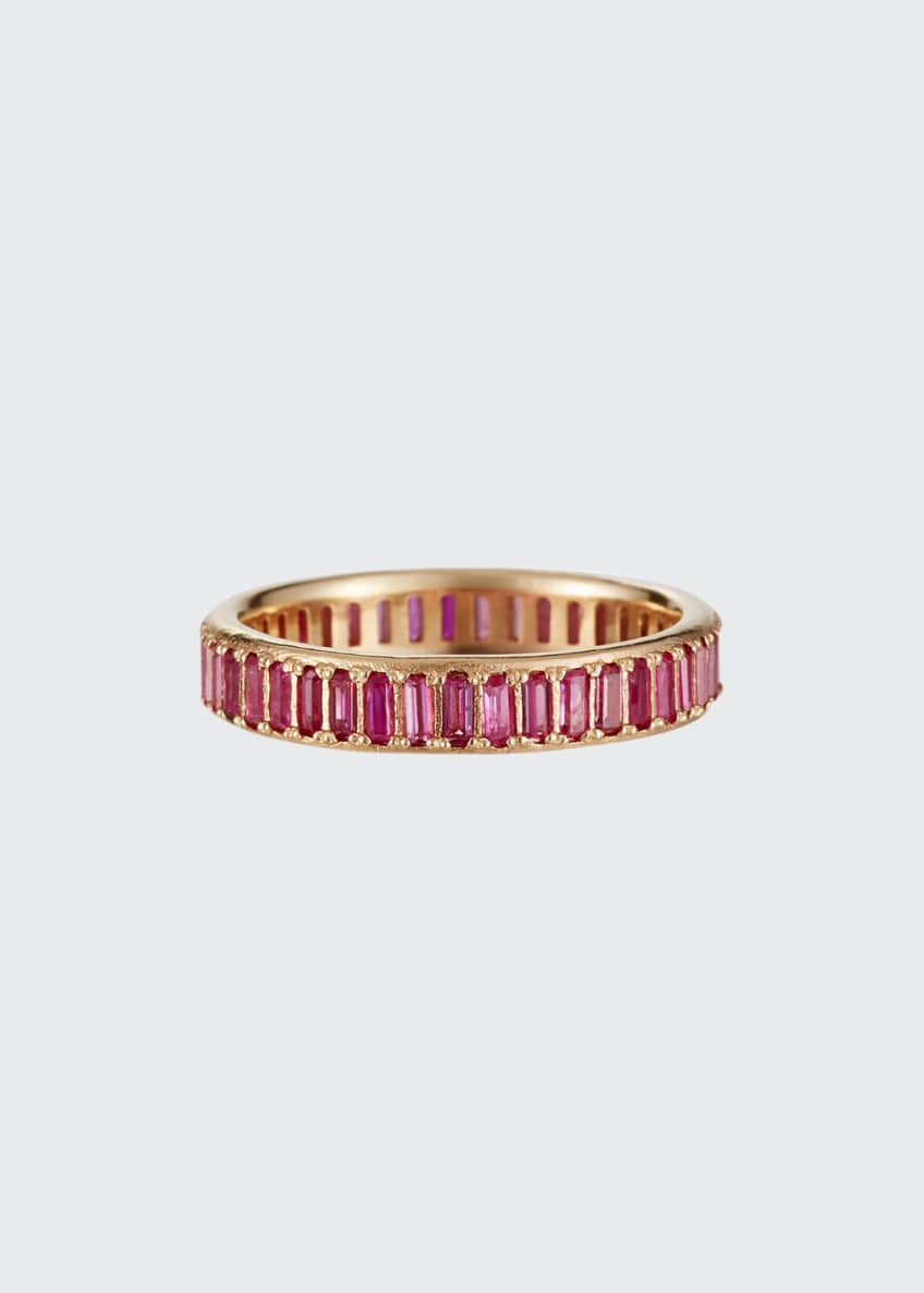 Armenta Cuento 14k Pink Sapphire Baguette Ring, Size