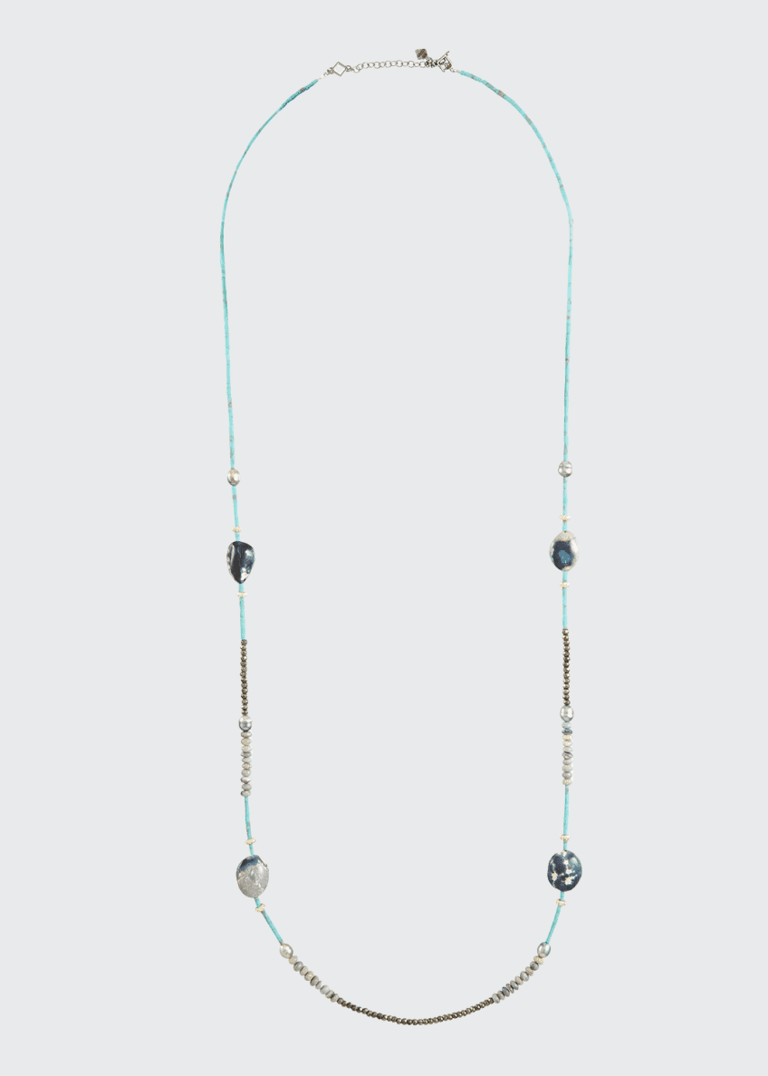 Armenta Old World Long Mixed-Stone & Pearl Necklace,