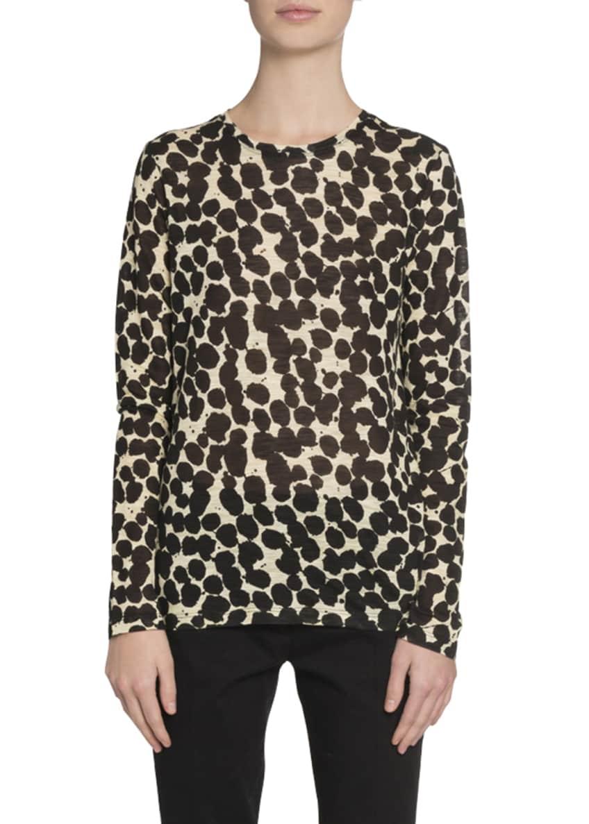 Proenza Schouler Speckle-Print Long-Sleeve Crewneck T-Shirt &