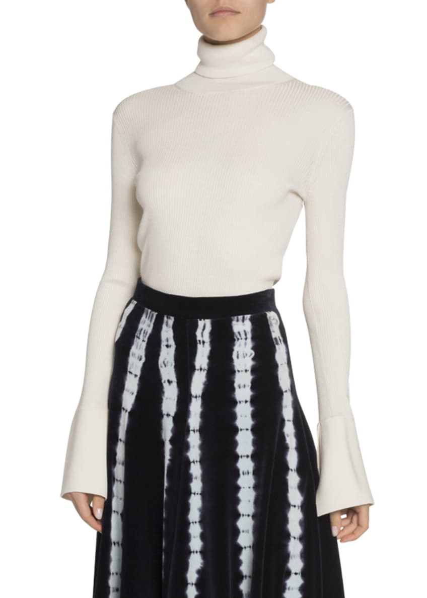 Proenza Schouler Silk-Cashmere Flare-Sleeve Turtleneck Sweater &