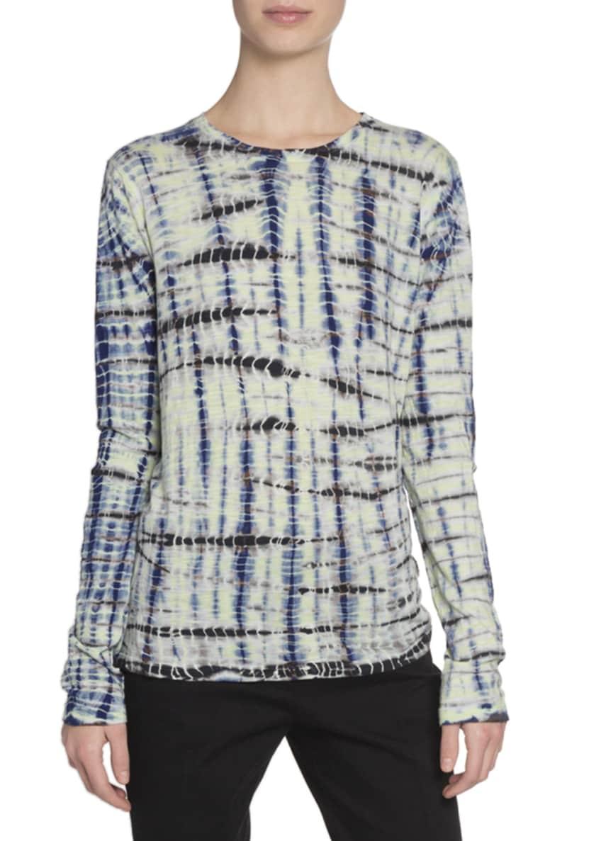 Proenza Schouler Long-Sleeve Tie-Dyed Crewneck Tee & Matching