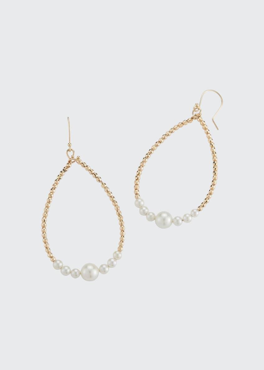 Mizuki 14k Gold Pearl Teardrop Hoop Earrings