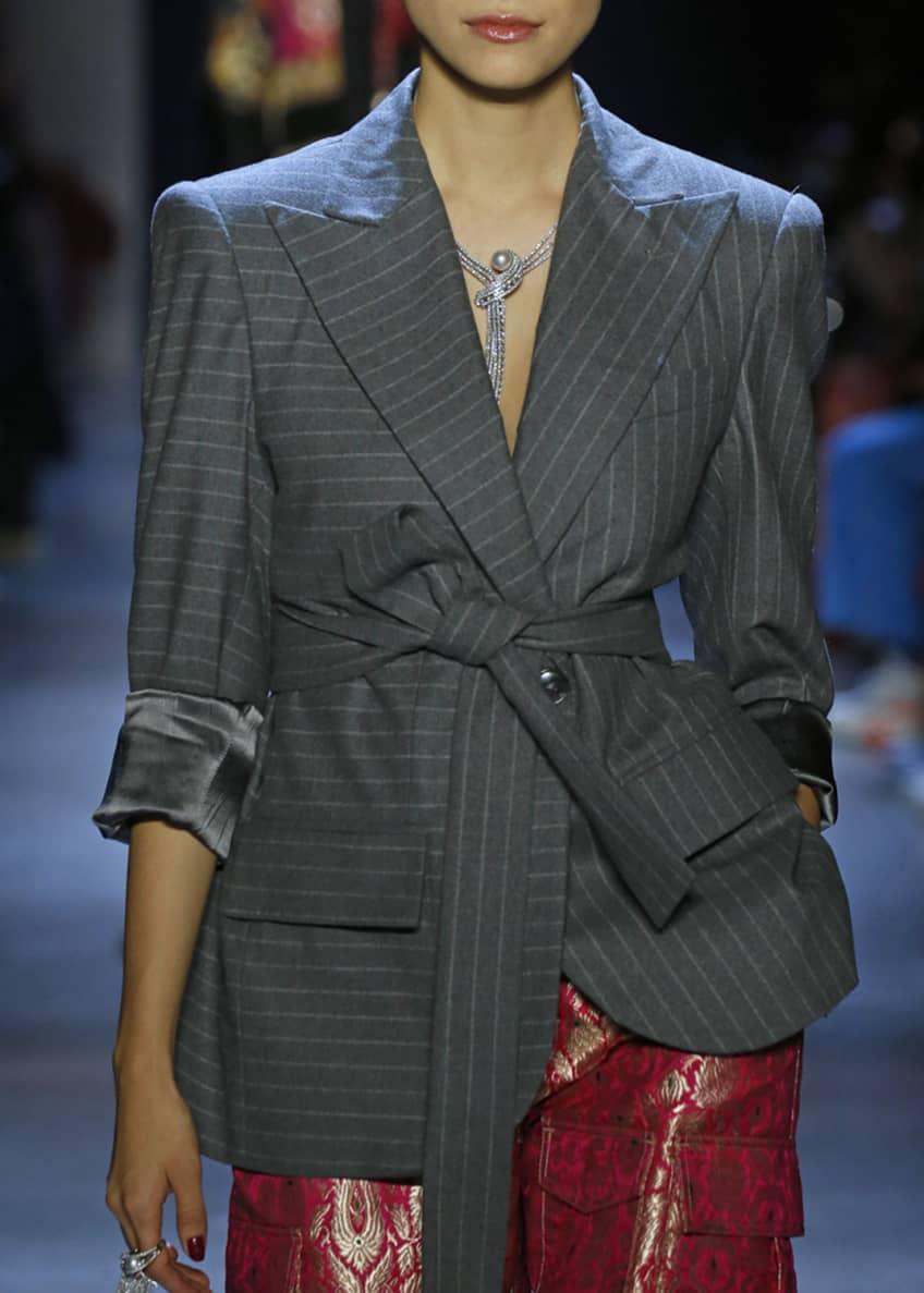 Prabal Gurung Dokan Menswear Panel Belted Jacket &