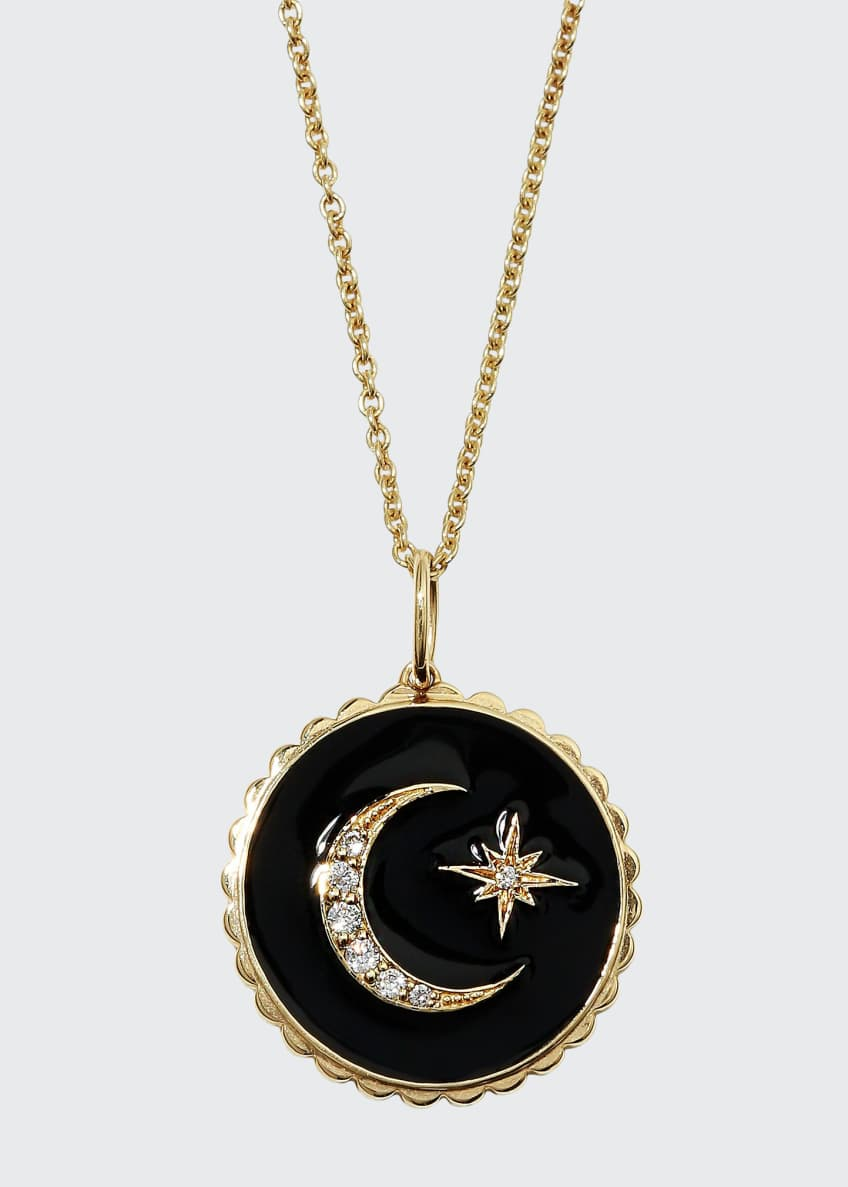 Sydney Evan 14k Black Celestial Medallion Necklace w/