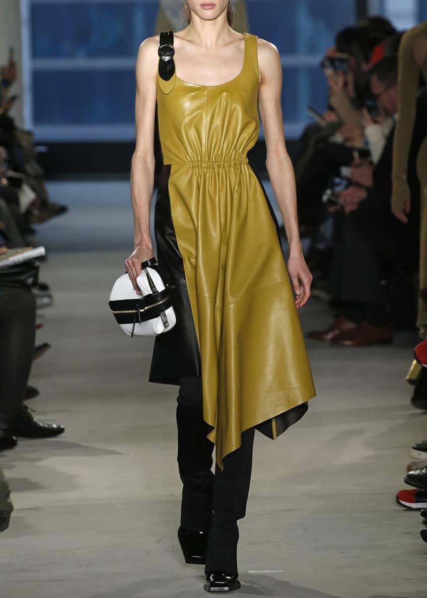 Proenza Schouler Asymmetric Leather Sleeveless Midi Dress &