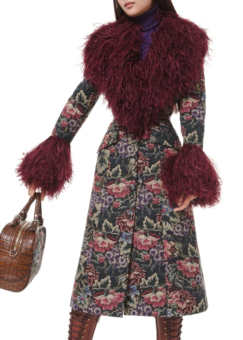 Michael Kors Floral Tapestry Feather Embellished Princess Coat