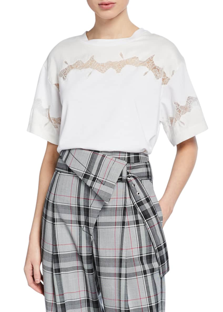 3.1 Phillip Lim Crewneck Short-Sleeve Lace-Inset T-Shirt &