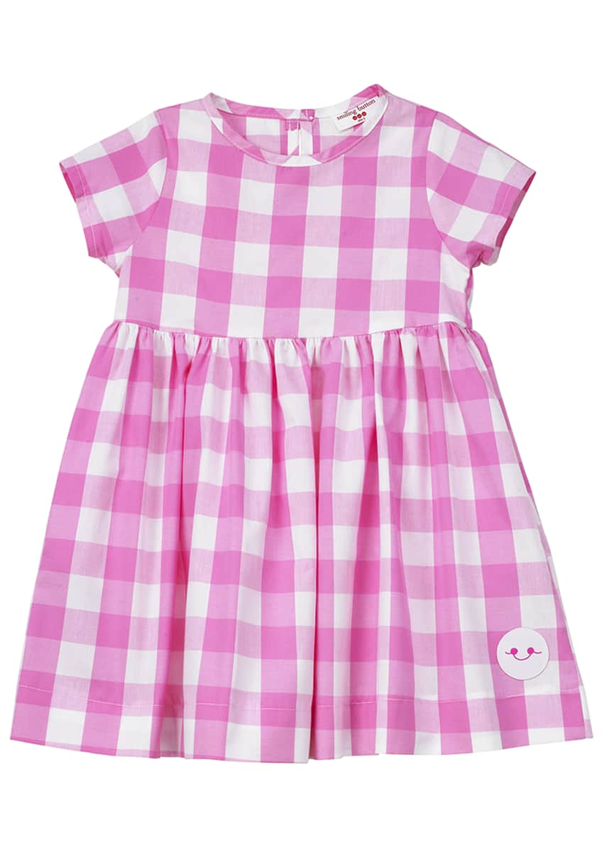 Smiling Button Bubble Gum Gingham Short-Sleeve Dress, Size