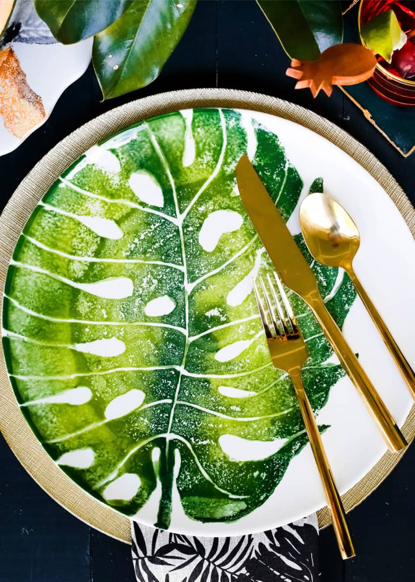 Image 2 of 2: Into The Jungle Monstera Leaf Dinner Plate