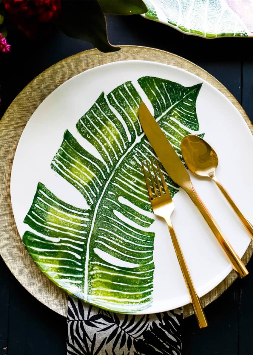 Image 2 of 2: Into The Jungle Banana Leaf Dinner Plate