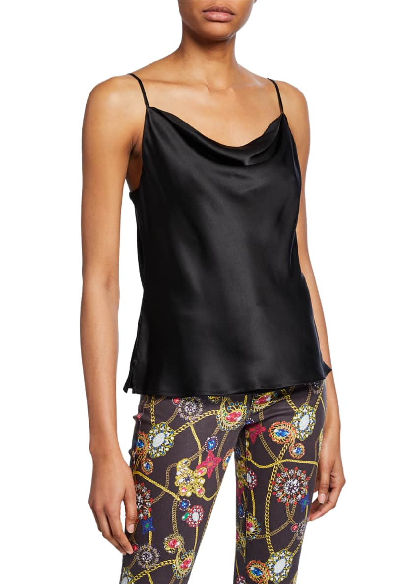 Image 1 of 6: Kay Cowl-Neck Silk Charmeuse Tank