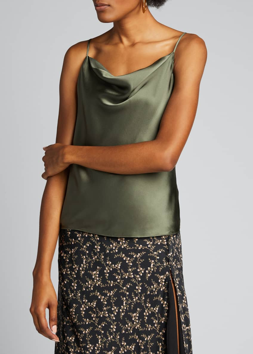 Image 3 of 6: Kay Cowl-Neck Silk Charmeuse Tank