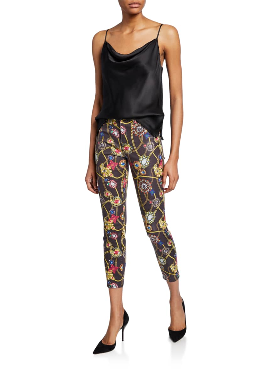 Image 3 of 3: Margot Jewel-Print Cropped Skinny Jeans