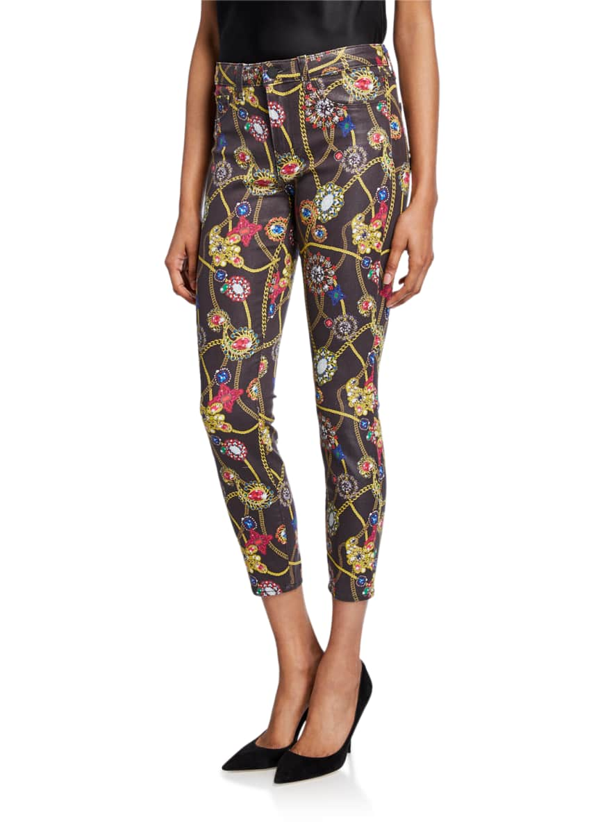 Image 1 of 3: Margot Jewel-Print Cropped Skinny Jeans