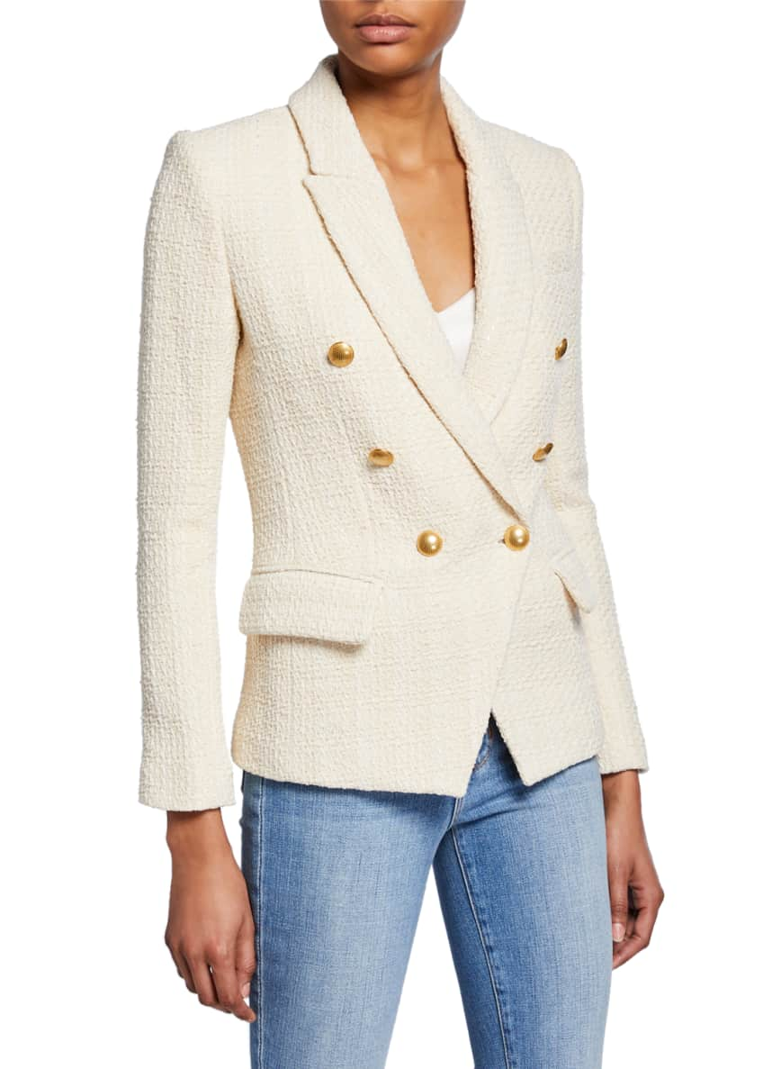 Image 2 of 5: Kenzie Double-Breasted Tweed Blazer