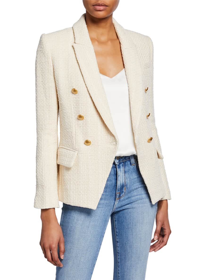 Image 1 of 5: Kenzie Double-Breasted Tweed Blazer