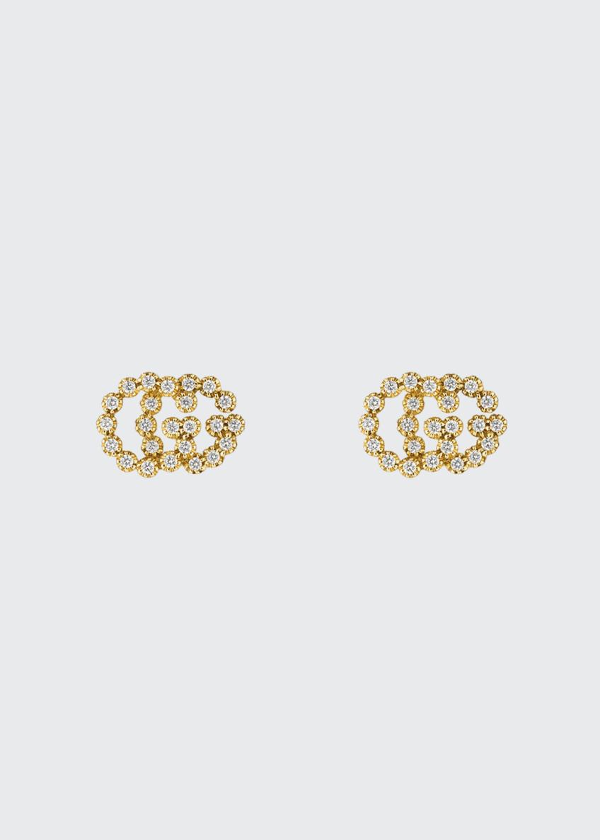 Gucci GG Running 18k Stud Earrings w/ Diamonds