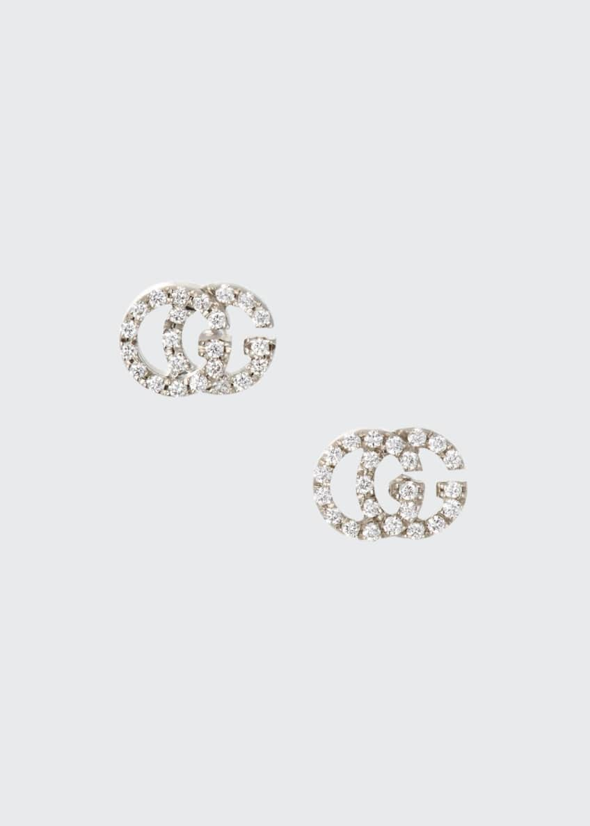 Gucci Running G Pave Diamond Stud Earrings in