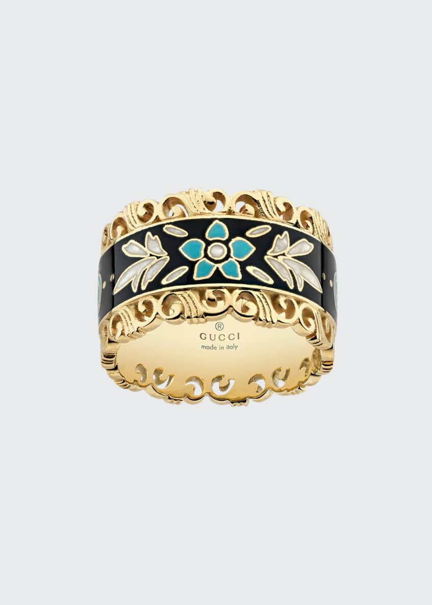Gucci Icon Blooms Band Ring in 18K Gold,