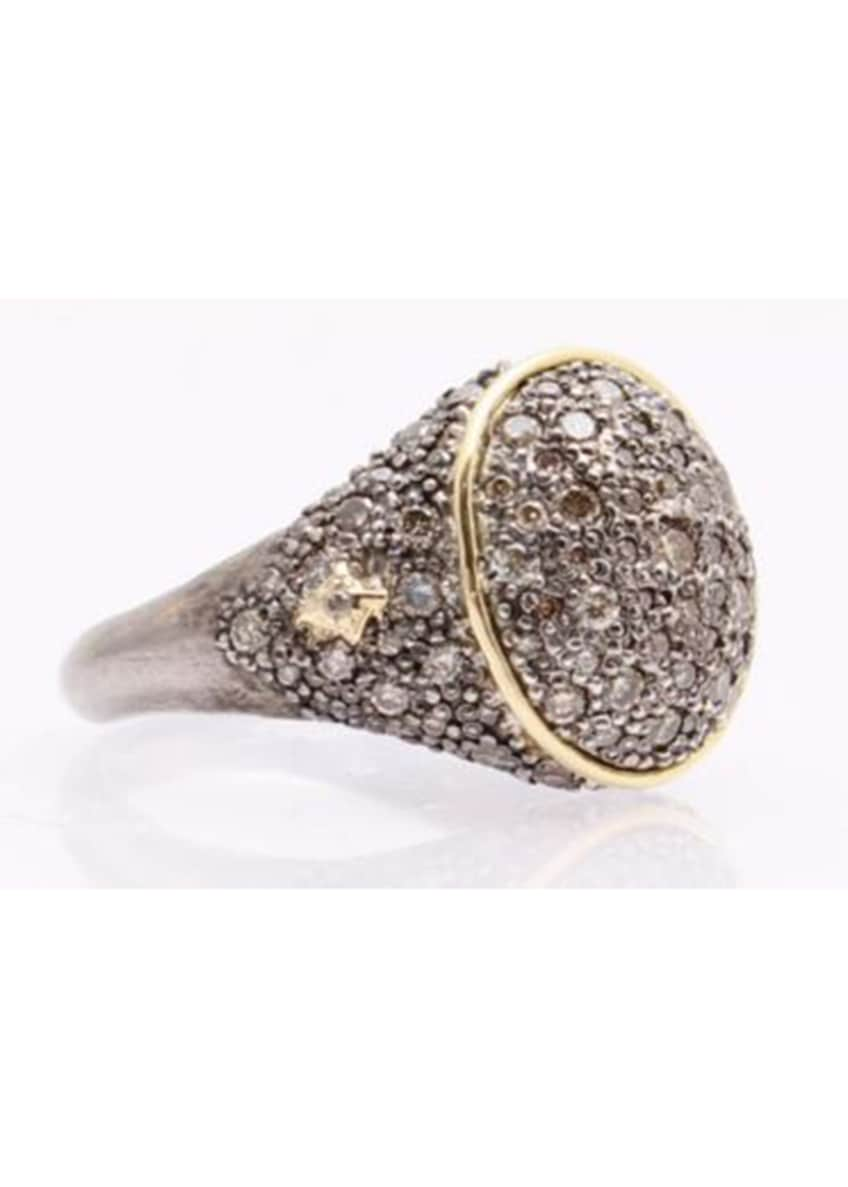 Image 1 of 1: old World Diamond Pave Signet Ring, Size 6.5