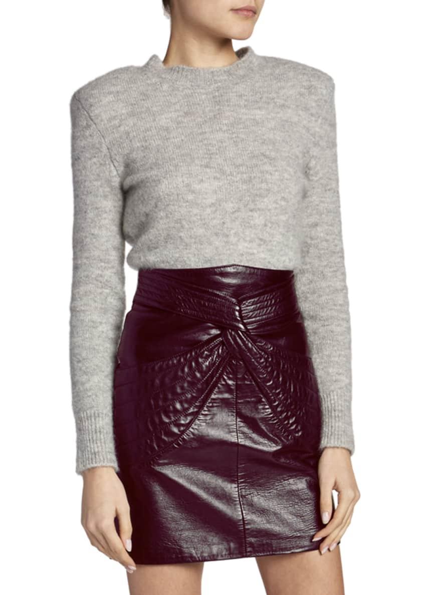 Isabel Marant Structured-Shoulder Wool Crewneck Sweater &