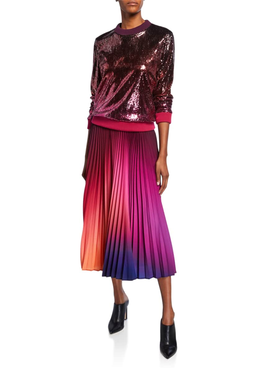Image 3 of 3: Dip-Dyed Pleated Midi Skirt