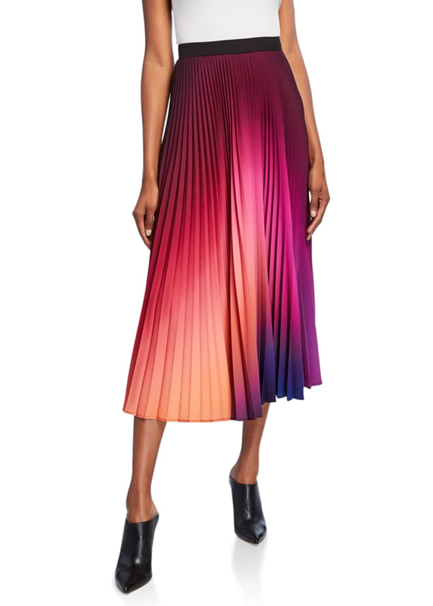 Image 1 of 3: Dip-Dyed Pleated Midi Skirt
