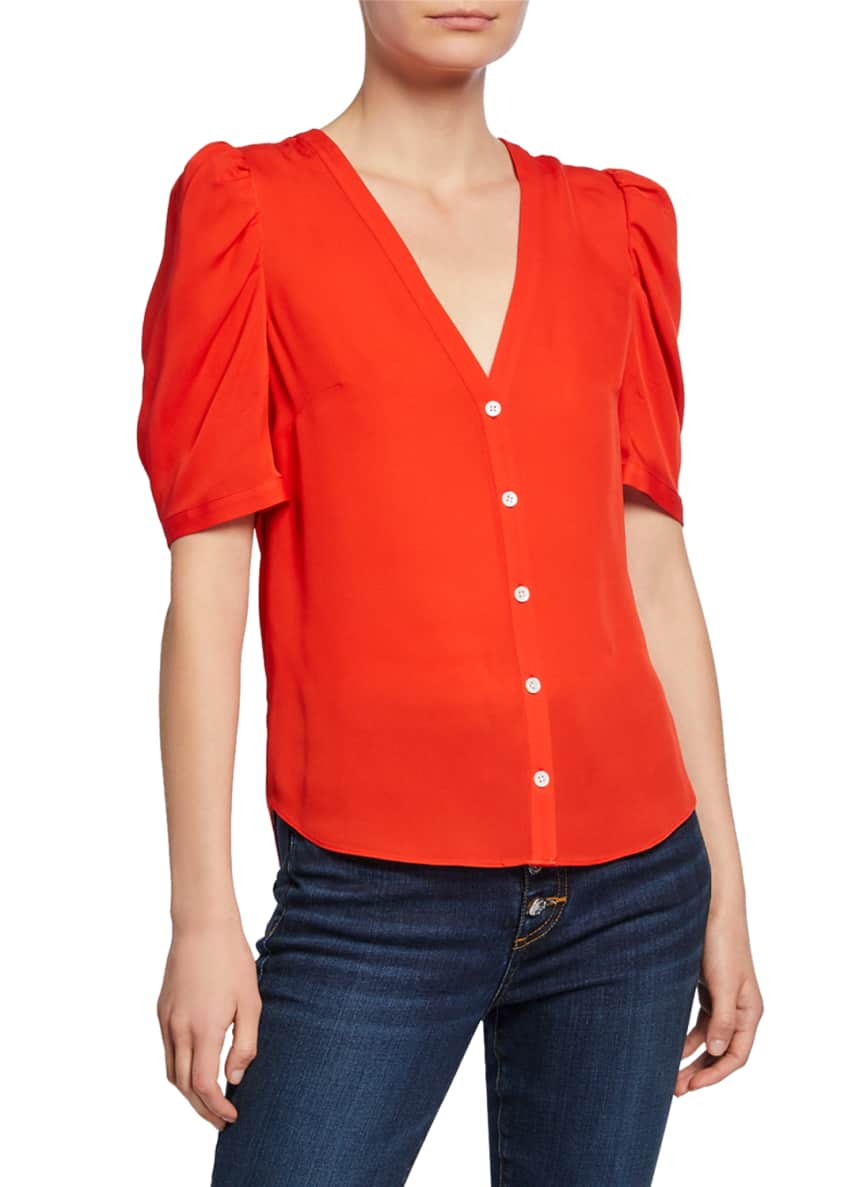 Veronica Beard Garland V-Neck Button-Front Silk Blouse &