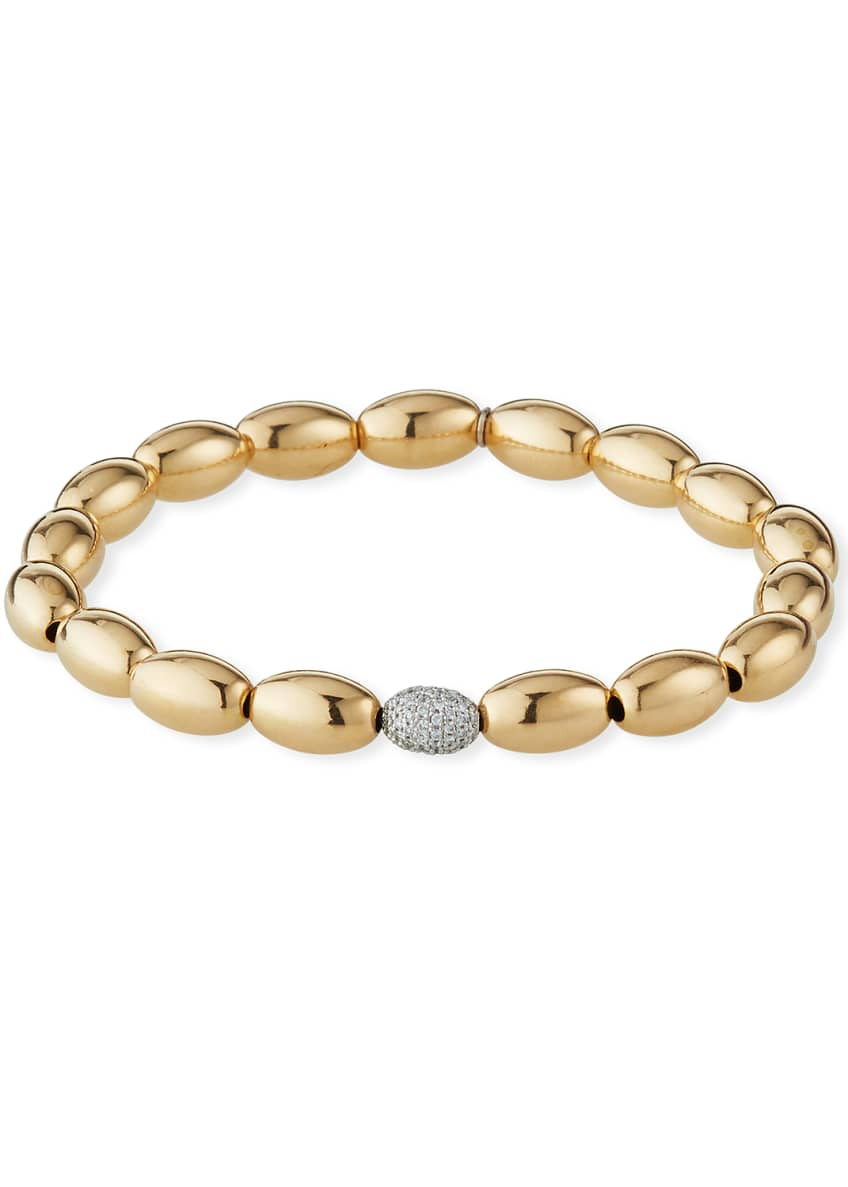 Image 1 of 2: 14k Gold 6mm Bead & Diamond Bracelet