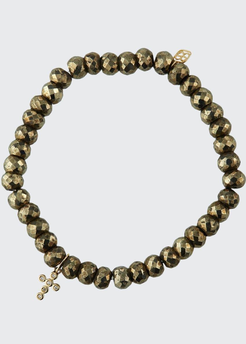 Sydney Evan 14k Diamond Cross & Pyrite Bead