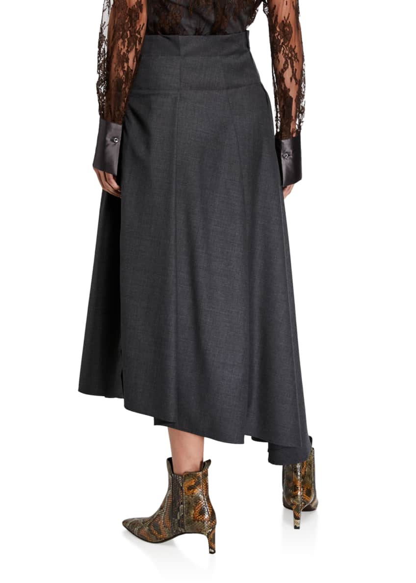 Image 2 of 3: Grisaille Wool Asymmetric Skirt