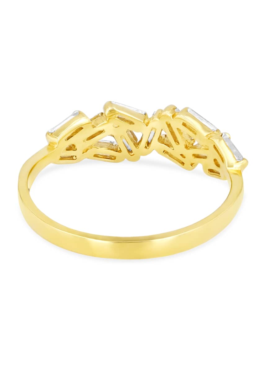 Image 2 of 2: 18K Yellow Gold Baguette Diamond Band Ring, Size 6