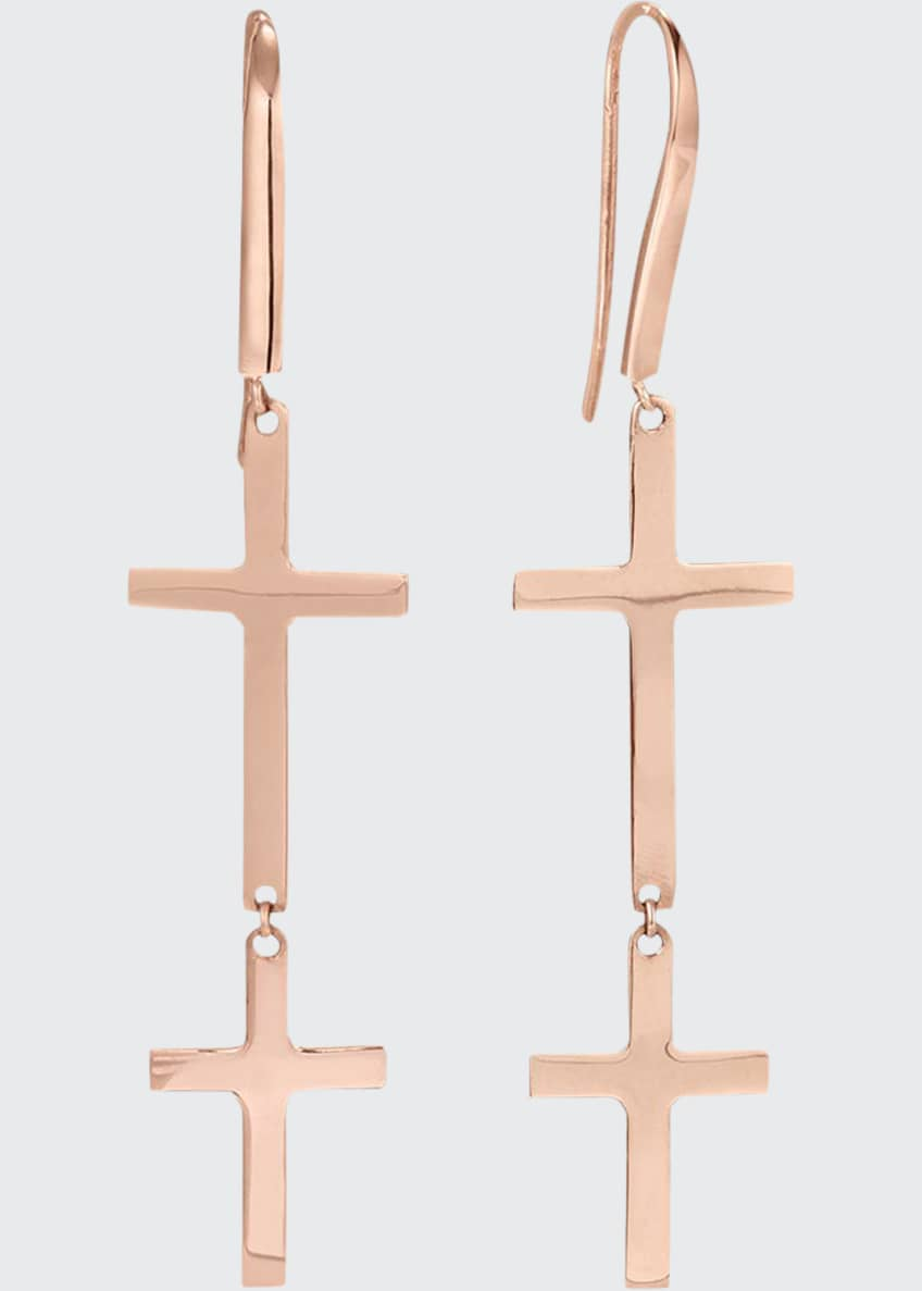 Image 1 of 2: 14k Double-Cross Drop Earrings