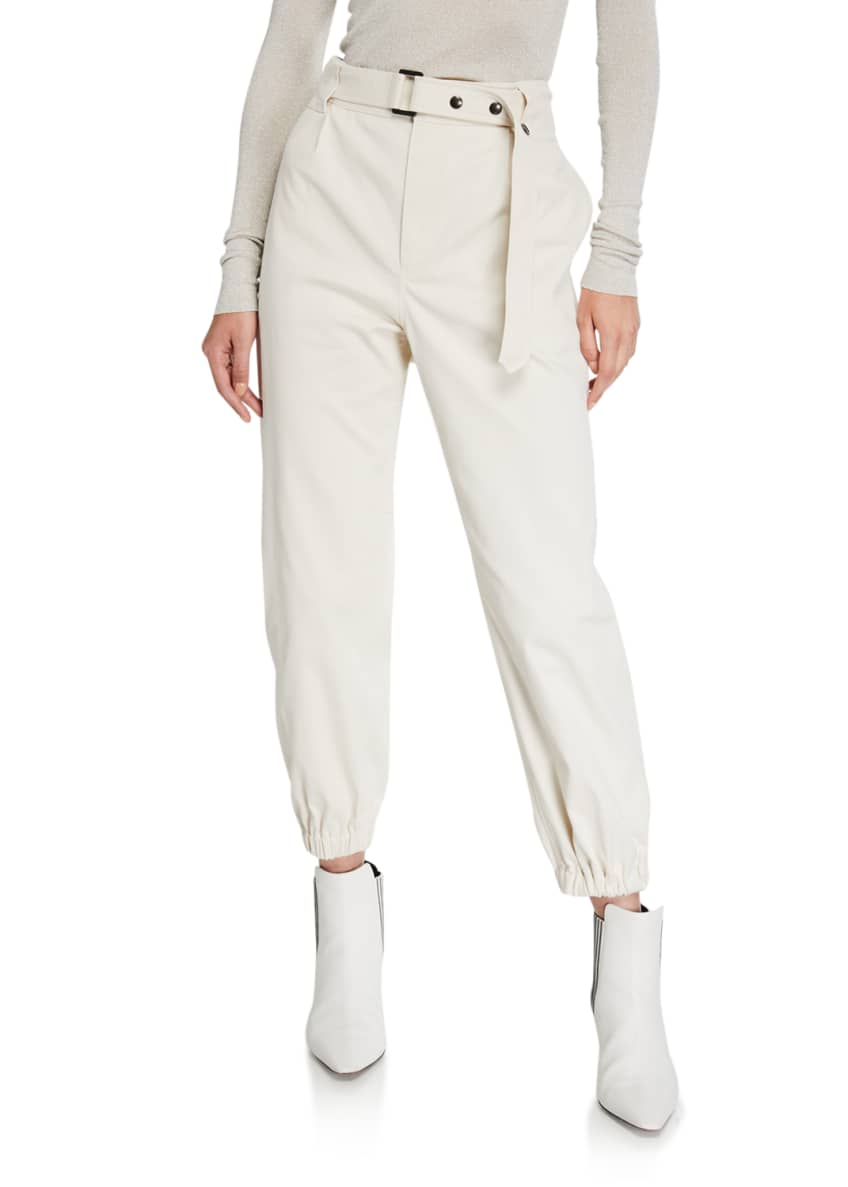 Image 1 of 4: Cotton Gabardine Belted Pants